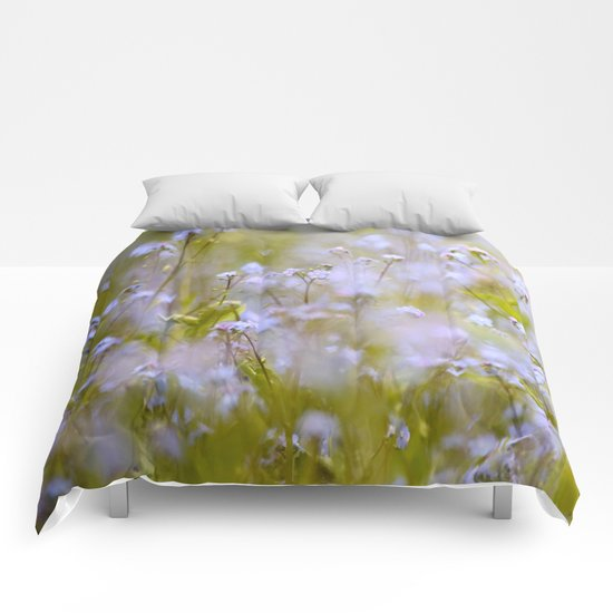 Forget-me-nots On a Windy Day Comforters
