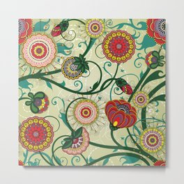 Floral Pink Red Green Home Decor Print Metal Print