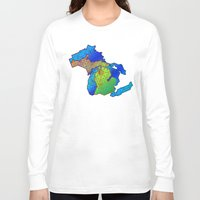 michigan Long Sleeve T-shirts featuring Michigan by Dusty Goods