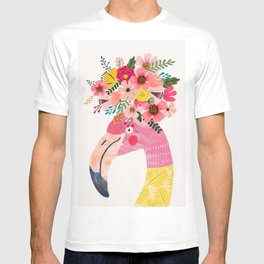 c88485d6 Pink flamingo with flowers on head T-shirt