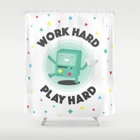 bmo Shower Curtains featuring Work Hard, Play BMO by Milli-Jane