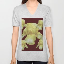PALE YELLOW IRIS ON BURGUNDY COLOR Unisex V-Neck