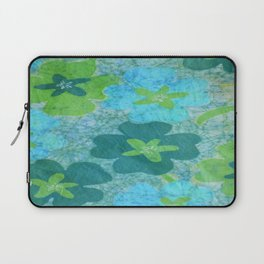Floral batik in blues and greens Laptop Sleeve
