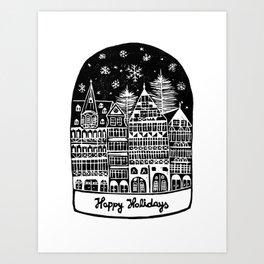 Linocut Holidays Art Print