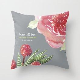 peony and cacti Throw Pillow