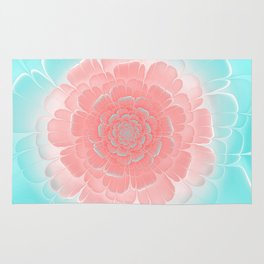 Romantic aqua and pink flower, digital abstracts Rug
