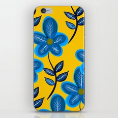 Blue Flowers and Yellow Pattern iPhone Skin
