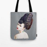 black widow Tote Bags featuring Black Widow by Daniac Design