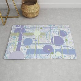 Mid Century Modern Abstract, Lilac, Purple, Green Rug