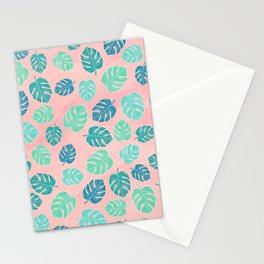 Modern green turquoise monstera leaf on blush pink watercolor pattern Stationery Cards