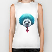afro Biker Tanks featuring PANDA AFRO by ADAMLAWLESS