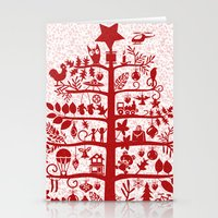 blankets Stationery Cards featuring CHRISTMAS TREE red ITINERANT by Chicca Besso