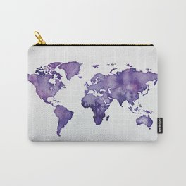 Purple World Map 01 Carry-All Pouch