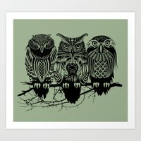 tattoo Art Prints featuring Owls of the Nile by Rachel Caldwell