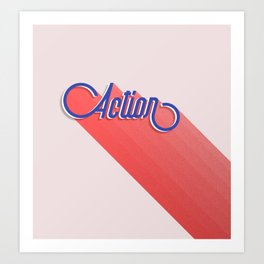 Action - typography Art Print
