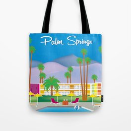 Palm Springs, California - Skyline Illustration by Loose Petals Tote Bag