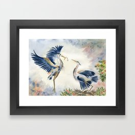 Great Blue Heron Couple Framed Art Print
