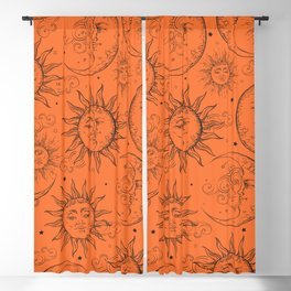 Orange Magic Celestial Sun Moon Stars Blackout Curtain
