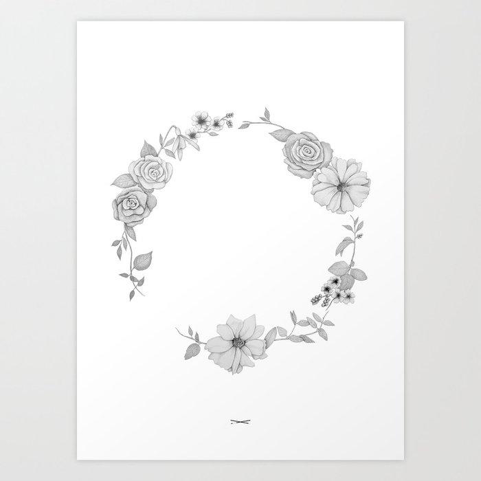 A circle of flowers Art Print