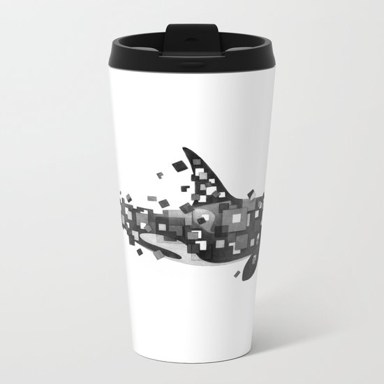 Fractured Killer Whale (mono) Metal Travel Mug