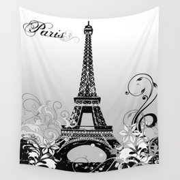 Eiffel Tower Paris (B/W) Wall Tapestry