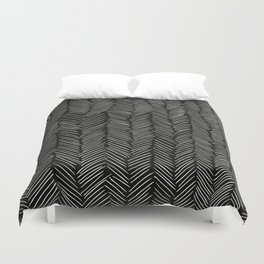 Herringbone Cream on Black Duvet Cover