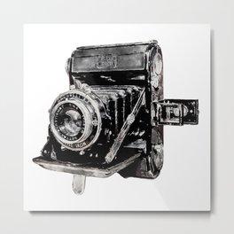Vintage Watercolor Camera - Zeiss Ikon Folding Camera  Metal Print