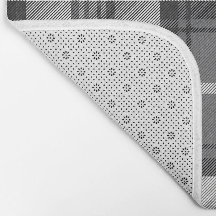 Black & White Tartan Bath Mat