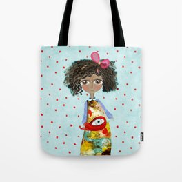 Red Bird Pet Doll Grungy Polka Dots Tote Bag