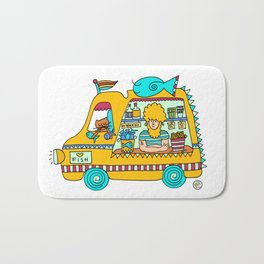 fish and chips food truck cool dude Bath Mat