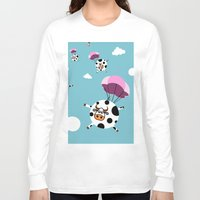 cows Long Sleeve T-shirts featuring flying cows by vitamin