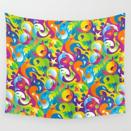 Dolphins, Seals and Sea Life in Tropical Ocean Waves Wall Tapestry