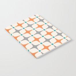 Mid Century Modern Star Pattern Grey and Orange Notebook