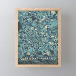 Clermont-Ferrand, France - Cream Blue Framed Mini Art Print