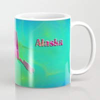 alaska Mugs featuring Alaska Map by Roger Wedegis