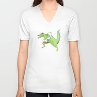 swim V-neck T-shirts featuring Swim Team by Catherine Holcombe