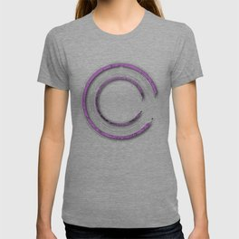 Purple abstract enso circle with mystical out of space look T-shirt