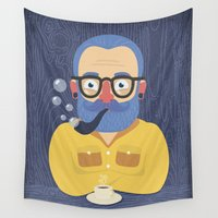 beard Wall Tapestries featuring Blue Beard by Beardy Graphics