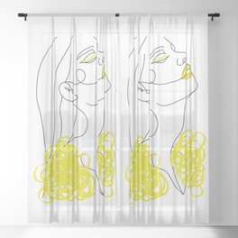 Abstract Line Illustration, Minimal Face Drawing In Lines, Printable Yellow Fashion Sketch. Sheer Curtain