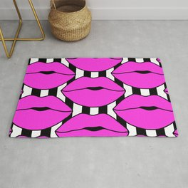 Pink Close up Stripe Lips Rug