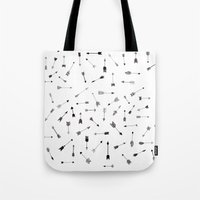 arrows Tote Bags featuring Arrows by Justine Lecouffe