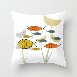 Mid Century Modern Fish, Marine Life Throw Pillow