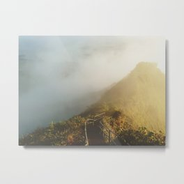 Haiku Stairs Fog Metal Print