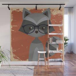 Hipster Raccoon Wall Mural