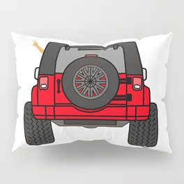 Jeep Wave Back View - Red Jeep Pillow Sham