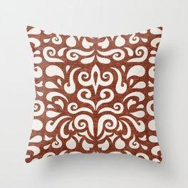 cadence damask - rust Throw Pillow