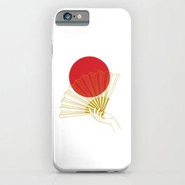 Japan Flag Retro Red Gold Vintage Minimalist Geometric Hand Fan iPhone Case