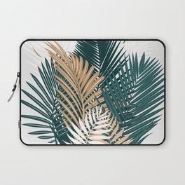 Gold and Green Palm Leaves Laptop Sleeve