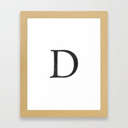 Letter D Initial Monogram Black and White Framed Art Print