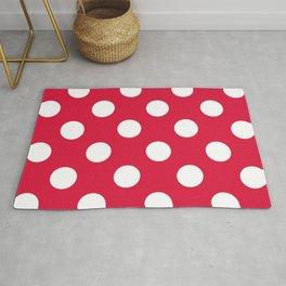 Large Polka Dots - White on Crimson Red Rug